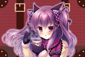 Rating: Safe Score: 78 Tags: animal animal_ears blush catgirl drink elbow_gloves gloves long_hair mizuki_yuuma original pink_hair red_eyes ribbons twintails User: Flandre93