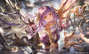 Rating: Safe Score: 75 Tags: choker feathers industrial liiko long_hair orange_eyes purple_hair ribbons robot scarf shadowverse tagme_(character) thighhighs water watermark weapon zettai_ryouiki User: BattlequeenYume