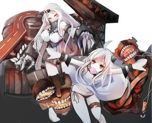 Rating: Safe Score: 155 Tags: 2girls anthropomorphism armor breasts dress gloves kamui0226 kantai_collection loli long_hair northern_ocean_hime panties red_eyes seaport_hime underwear white_hair User: Flandre93