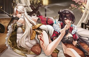Rating: Questionable Score: 93 Tags: 2girls ass barefoot bed beidou_(genshin_impact) blush brown_hair chinese_clothes chinese_dress dress elbow_gloves eyepatch flowers genshin_impact gloves long_hair ningguang_(genshin_impact) pengnangehao red_eyes tattoo thighhighs white_hair yuri User: Fepple