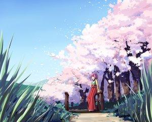 Rating: Safe Score: 37 Tags: akizuki_rito aliasing bow brown_eyes cherry_blossoms flowers grass hieda_no_akyuu petals pink_hair short_hair touhou tree User: RyuZU