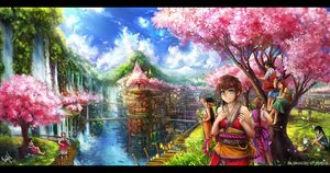 Rating: Safe Score: 20 Tags: cherry_blossoms grass group landscape scenic signed tagme_(artist) tree water waterfall User: ssagwp