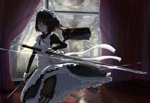 Rating: Safe Score: 286 Tags: dress glasses green_eyes katana kikivi maid original sword weapon User: opai