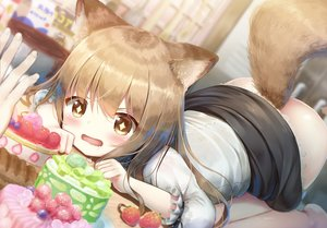 Rating: Questionable Score: 36 Tags: animal_ears ass blush brown_eyes brown_hair cake close food fruit loli long_hair nopan original psyche3313 shirt skirt skirt_lift strawberry tail User: BattlequeenYume
