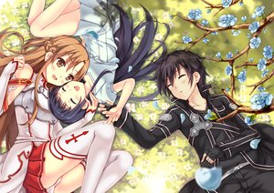 Rating: Safe Score: 199 Tags: brown_hair flowers kirigaya_kazuto long_hair panties pcmaniac88 petals sword_art_online thighhighs underwear yui_(sword_art_online) yuuki_asuna User: opai