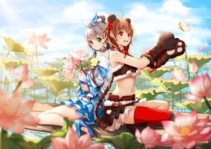 Rating: Safe Score: 52 Tags: 2girls brown_eyes brown_hair butterfly clouble clouds dress flowers gloves gray_hair green_eyes luo_tianyi navel thighhighs vocaloid vocaloid_china yuezheng_ling User: luckyluna