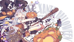 Rating: Safe Score: 116 Tags: aliasing amatsukaze_(kancolle) anthropomorphism blush bodysuit breasts candy cleavage garter_belt gloves gray_hair halloween hat kantai_collection litsvn long_hair pumpkin rensouhou-kun signed stars stockings tattoo thighhighs witch witch_hat yellow_eyes User: mattiasc02