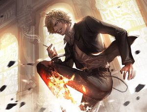 Rating: Safe Score: 102 Tags: all_male blonde_hair cdash817 chain cigarette fire kick magic male one_piece sanji short_hair smoking suit tie User: FormX