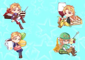Rating: Safe Score: 21 Tags: all_male blonde_hair blush candy chibi chocolate cyan diego_brando dio_brando drink fang food fruit gloves green_eyes hat honey jojo_no_kimyou_na_bouken kneehighs long_hair male red_eyes scarf short_hair stars suit tail tie vampire wristwear yellow_eyes yomi_(valshe96nekopiko) User: otaku_emmy