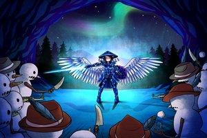 Rating: Safe Score: 57 Tags: armor black_hair blue_eyes gun hat knife lightsaber snow snowman stars suweeka terraria watermark weapon wings User: Kumacuda