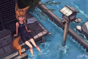Rating: Safe Score: 149 Tags: animal_ears barefoot bike_shorts dreadtie foxgirl green_eyes leaves orange_hair original shorts signed tail water User: Wiresetc