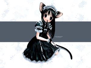 Rating: Safe Score: 29 Tags: animal_ears black_eyes black_hair blush catgirl dress gloves goth-loli headdress lolita_fashion maid tail User: Oyashiro-sama