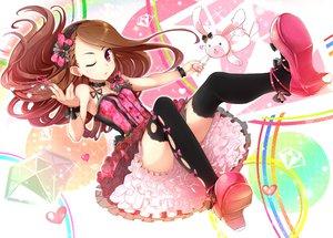 Rating: Safe Score: 162 Tags: brown_hair bunny dress idolmaster minase_iori minazuki_randoseru pink_eyes thighhighs wink User: opai