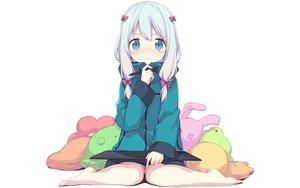 Rating: Safe Score: 109 Tags: aqua_eyes barefoot blush bow eromanga-sensei gray_hair hoodie izumi_sagiri loli long_hair twintails yuizaki_kazuya User: RyuZU