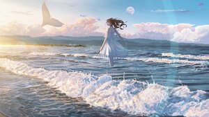 Rating: Safe Score: 48 Tags: animal banishment brown_hair clouds dress fish long_hair moon original scenic signed sky water User: FormX