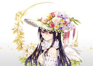 Rating: Safe Score: 126 Tags: black_hair collar flowers hat long_hair original platina77 purple_eyes rose sideboob white wings User: mikuna