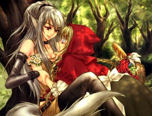 Rating: Safe Score: 178 Tags: 2girls animal_ears anthropomorphism big_bad_wolf flowers food little_red_riding_hood red_eyes red_riding_hood sakura_shio shoujo_ai tail wolfgirl User: Oyashiro-sama