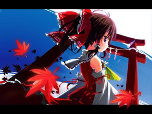 Rating: Safe Score: 53 Tags: blue_eyes brown_hair hakurei_reimu japanese_clothes miko ribbons sky touhou User: hirotn