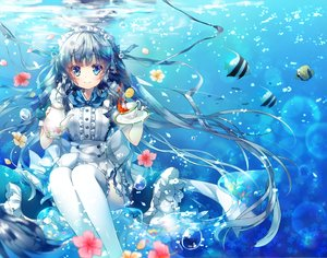 Rating: Safe Score: 120 Tags: animal blue_eyes blue_hair bubbles drink fish flowers headdress long_hair maid miwabe_sakura original ribbons thighhighs underwater water User: Flandre93