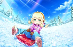 Rating: Safe Score: 3 Tags: annin_doufu blonde_hair blush boots earmuffs gloves green_eyes idolmaster idolmaster_cinderella_girls idolmaster_cinderella_girls_starlight_stage loli long_hair snow tagme_(character) tree twintails User: luckyluna
