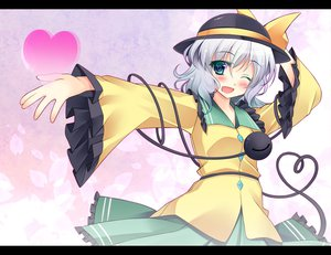 Rating: Safe Score: 46 Tags: aqua_eyes blush bow gray_hair hat heart jpeg_artifacts komeiji_koishi kusano_(torisukerabasu) petals shirt short_hair skirt touhou wink User: ガラス