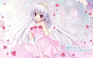 Rating: Safe Score: 105 Tags: crown dress flowers gloves gray_hair hatsuyuki_sakura hontani_kanae petals rose saga_planets tamaki_sakura wedding_dress User: Wiresetc