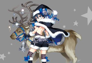 Rating: Safe Score: 150 Tags: black_hair blue_eyes bow christmas gloves hat kayou_(artist) original stars User: Maboroshi