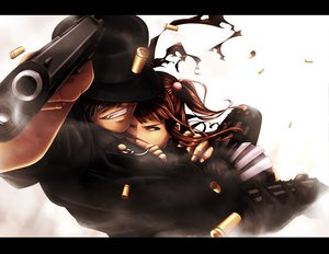 Rating: Safe Score: 37 Tags: amakusa_juuza gray_hair gun hat jailbird red_hair umineko_no_naku_koro_ni ushiromiya_ange weapon User: HawthorneKitty