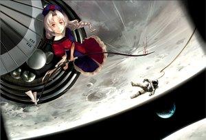 Rating: Safe Score: 57 Tags: bow_(weapon) braids dress earth gray_eyes gray_hair hat moon planet samanta space touhou weapon yagokoro_eirin User: LoreleiRey