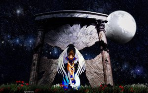 Rating: Safe Score: 24 Tags: aa_megami-sama belldandy moon wings User: 秀悟