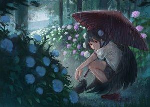 Rating: Safe Score: 51 Tags: animal bird black_hair fjsmu flowers forest pointed_ears rain red_eyes shameimaru_aya short_hair skirt touhou tree umbrella water wings User: RyuZU