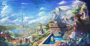Rating: Safe Score: 197 Tags: blonde_hair blue_hair brown_hair building city clouds cross dragon dress eternita flowers hat landscape long_hair petals pointed_ears saber_01 scenic short_hair sky staff stairs water User: w7382001