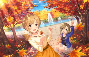 Rating: Safe Score: 34 Tags: 2girls aiba_yumi annin_doufu autumn blonde_hair brown_eyes brown_hair building city green_eyes idolmaster idolmaster_cinderella_girls idolmaster_cinderella_girls_starlight_stage leaves necklace park shade short_hair skirt tada_riina tree water wristwear User: luckyluna