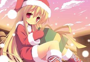 Rating: Safe Score: 97 Tags: blonde_hair boots christmas hat long_hair masaki_(machisora) red_eyes snow tagme User: opai