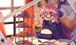 Rating: Safe Score: 14 Tags: animal_ears breasts cake cherry cleavage fate/extra fate/grand_order fate_(series) food foxgirl fruit glasses ice_cream long_hair pink_hair ryuuno6 strawberry tail tamamo_no_mae_(fate) yellow_eyes User: BattlequeenYume