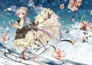 Rating: Safe Score: 144 Tags: aliasing clouds dress flowers goth-loli lolita_fashion long_hair original red_eyes ribbons sky umi_no_mizu white_hair User: RyuZU
