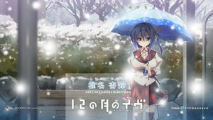 Rating: Safe Score: 65 Tags: 12_no_tsuki_no_eve blue_hair minori seifuku shiina_anzu shouna_mitsuishi snow umbrella User: Wiresetc