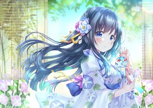 Rating: Safe Score: 115 Tags: black_hair blue_eyes flowers japanese_clothes long_hair original sakura_moyon yukata User: otaku_emmy