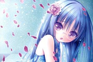Rating: Safe Score: 160 Tags: blue_hair chinese_clothes chinese_dress dress flowers glasses long_hair nagatsuka_saki petals purple_eyes ro-kyu-bu! scan tinkle User: Robbyn