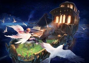 Rating: Safe Score: 42 Tags: animal bird flowers grass instrument inzanaki long_hair night original piano pink_hair pointed_ears scenic sky stars train water wings User: RyuZU