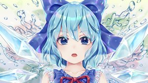 Rating: Safe Score: 56 Tags: aqua_hair blue_eyes bow cirno close dtvisu fairy short_hair touhou water wings User: BattlequeenYume