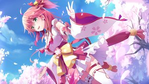 Rating: Safe Score: 76 Tags: bell blush cherry_blossoms clouds flowers garter green_eyes hololive japanese_clothes lolita_fashion miko pink_hair sakura_miko shirowa sky spring thighhighs tree User: BattlequeenYume