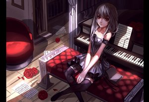 Rating: Safe Score: 171 Tags: baka_(mh6516620) book dress gray_hair instrument long_hair music original paper piano red_eyes thighhighs User: Flandre93