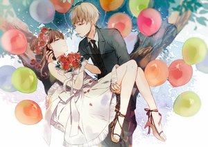 Rating: Safe Score: 38 Tags: blonde_hair brown_hair dress flowers headdress makoji_(yomogi) male original rose suit tie vocaloid wedding wedding_attire User: FormX