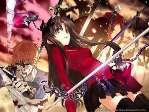 Rating: Safe Score: 17 Tags: archer blood emiya_shirou fate_(series) fate/stay_night male necklace skirt sword thighhighs tohsaka_rin watermark weapon zettai_ryouiki User: Oyashiro-sama
