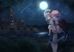 Rating: Safe Score: 16 Tags: 2girls building food grass hat izayoi_sakuya loli maid moon night remilia_scarlet scenic stars t.m_(aqua6233) touhou vampire water wings User: C4R10Z123GT