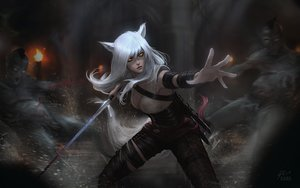 Rating: Safe Score: 83 Tags: ahri_(league_of_legends) animal_ears breasts cleavage corset cosplay crossover foxgirl league_of_legends long_hair raikoart sword tail the_witcher watermark weapon white_hair yellow_eyes User: SciFi