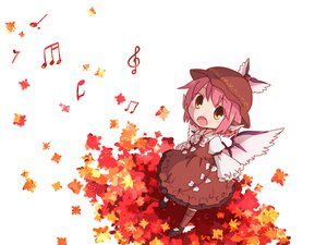 Rating: Safe Score: 71 Tags: dress hat kneehighs leaves music mystia_lorelei orange_eyes pink_hair short_hair touhou wings User: w7382001