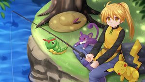 Rating: Safe Score: 31 Tags: animal blonde_hair caterpie hat kazenokaze long_hair mouse pikachu pokemon ponytail rattata water yellow_eyes yellow_(pokemon) User: luckyluna