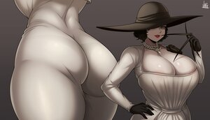 Rating: Questionable Score: 32 Tags: alcina_dimitrescu ass black_hair breasts cleavage close dress gloves gray hat jmg necklace resident_evil resident_evil_village short_hair signed skintight weapon yellow_eyes User: otaku_emmy